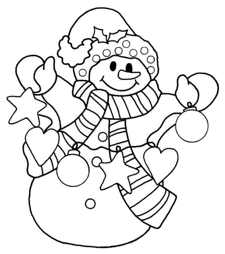 736x831 Christmas Snowman Coloring Pages