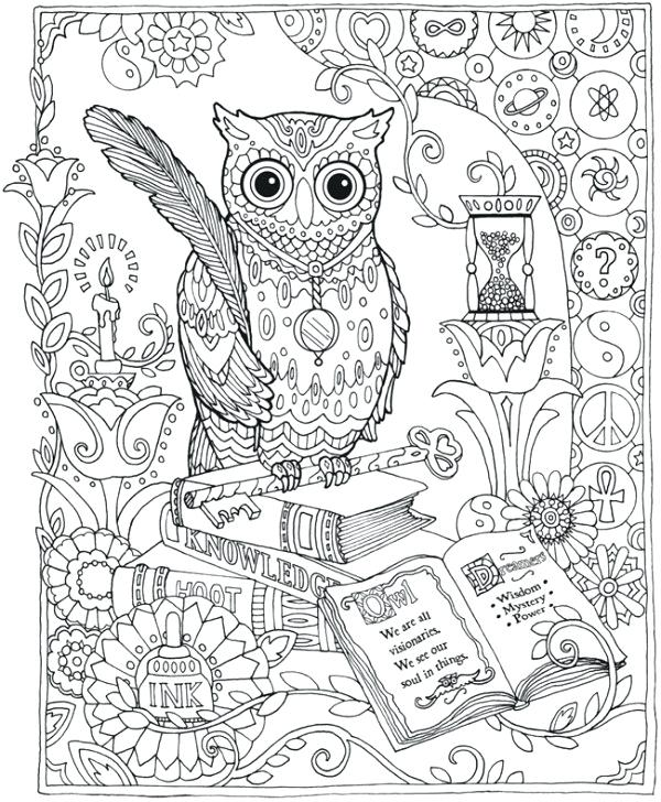 600x728 Coloring Pages Complex Complex Owl Coloring Pages For Adults