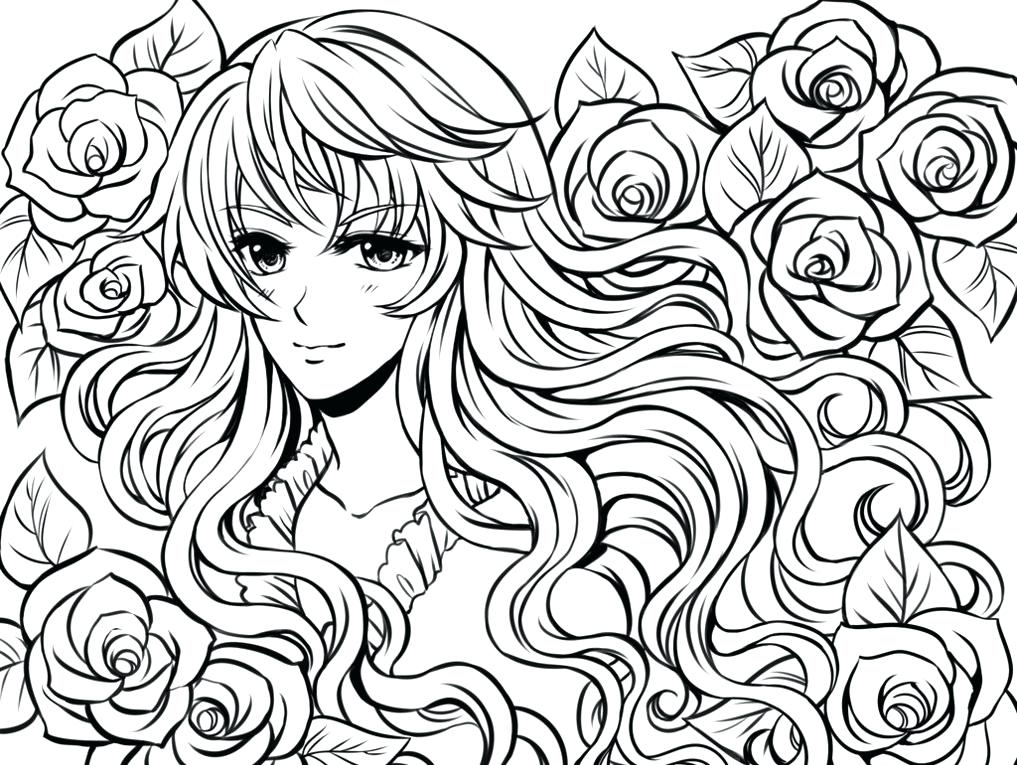 1017x765 Complex Coloring Pages Anime Girl And Flowers Printable Christmas