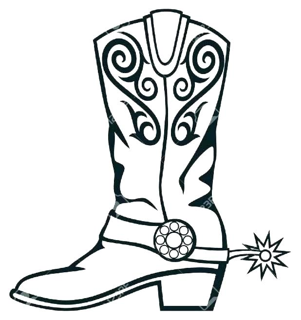 618x657 Cowboy Boots Colouring Pages Cowboy Boot Coloring Page Cowboy