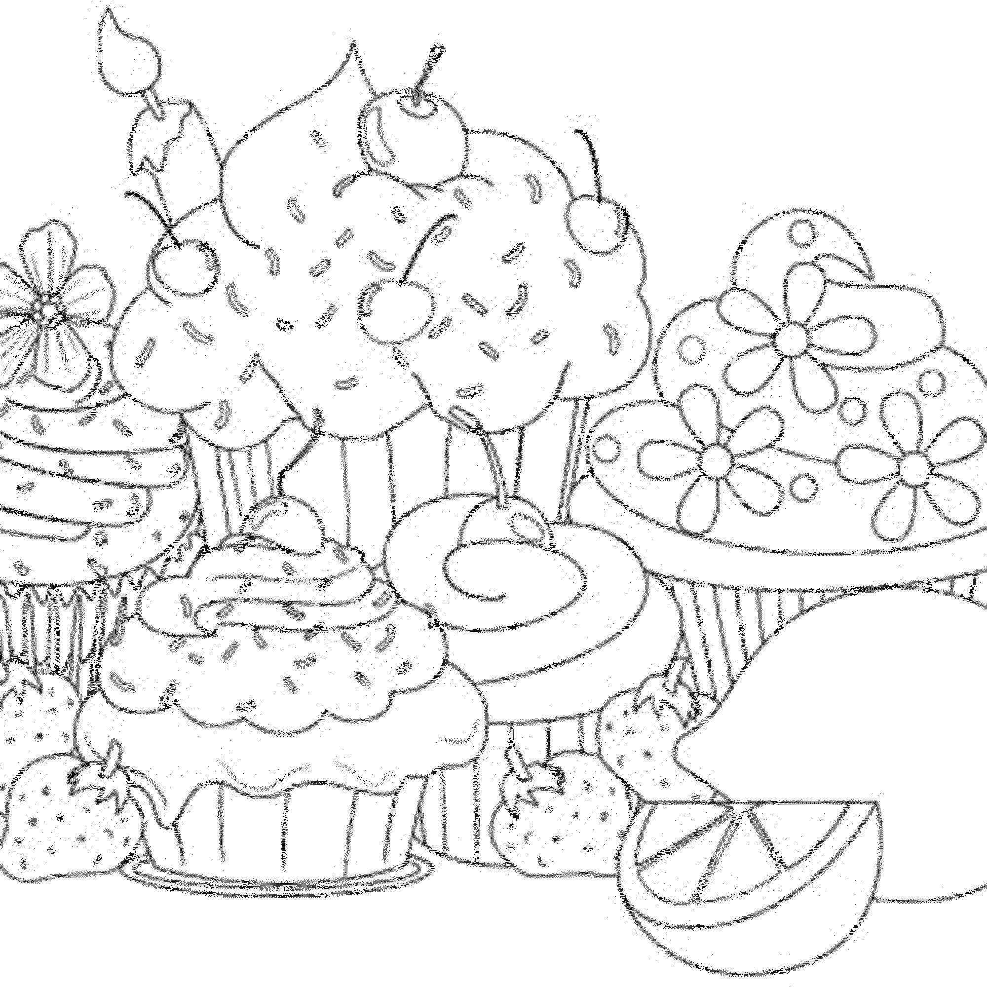 2000x2000 Cupcakes Coloring Pages