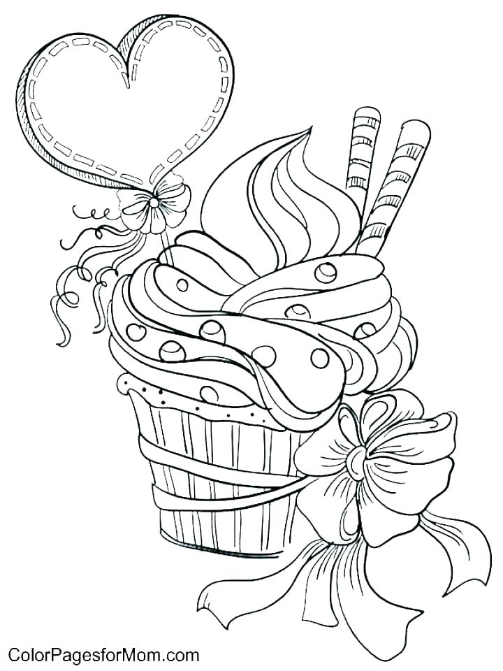 720x960 Cupcake Color Page Birthday Color Page Birthday Coloring Pages