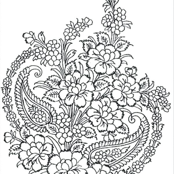 600x600 Free Printable Flower Bouquet Coloring Pages