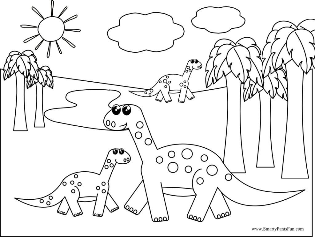 1024x769 The Best Printable Dinosaur Coloring Page Smarty Pants Fun Bebo