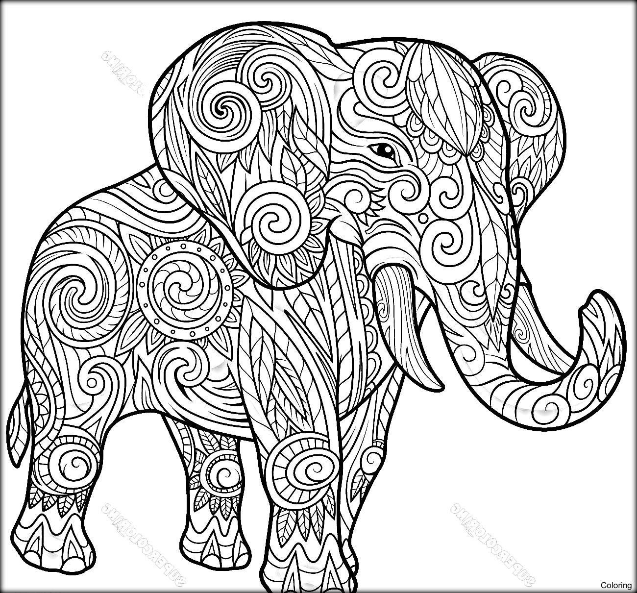 1300x1210 Printable Elephant Adult Coloring Pages Coloring Page Free