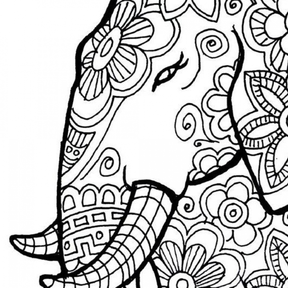 960x960 Sensational Elephant Coloring Pages For Adults