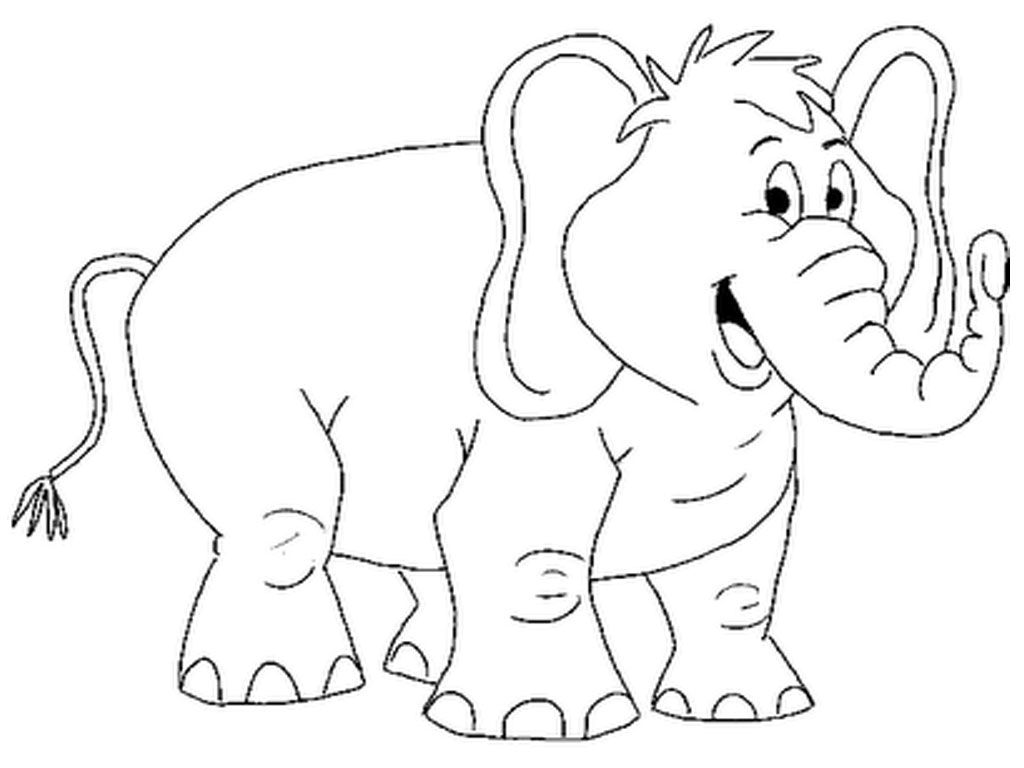 1024x768 Animal Coloring Pages Smiling Elephant Printable Coloring Pages