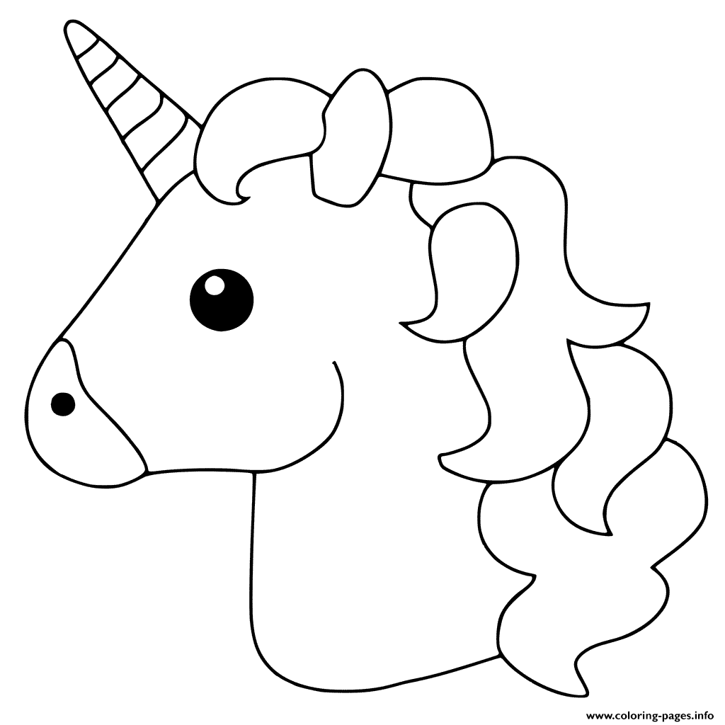 1024x1024 Unicorn Emoji Coloring Pages Printable