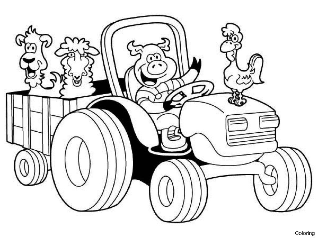 1024x768 Farm Animals Coloring Pages Printable Preschool Page Of Happy