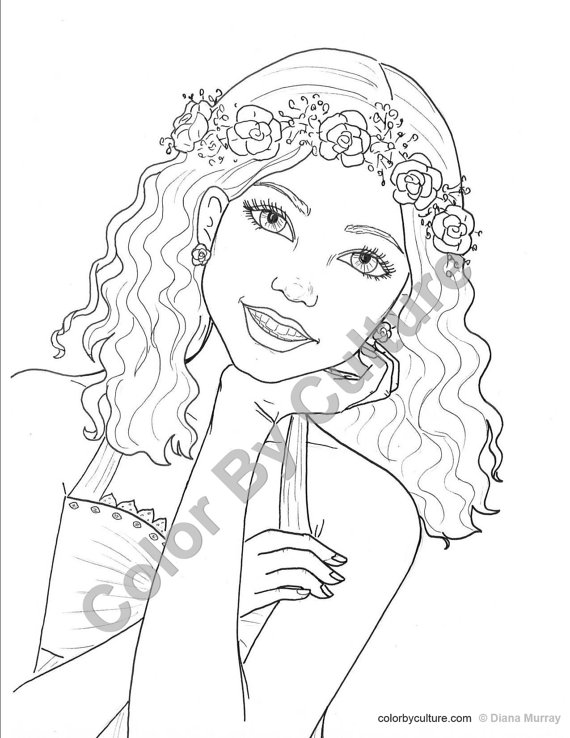 570x738 Teenage Girl Coloring Pages Fashion Coloring Page Girl With Flower