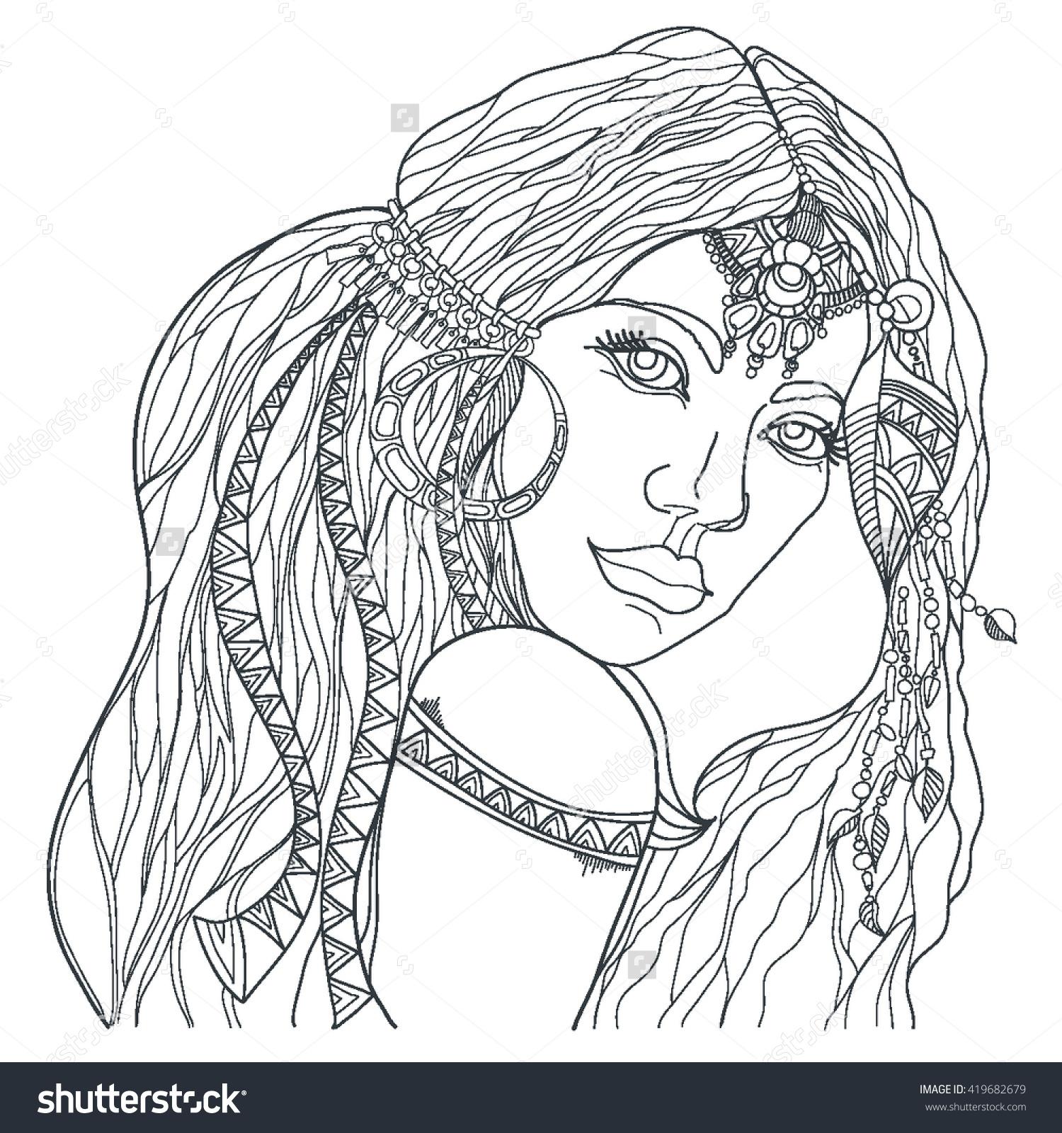 1500x1600 Boho Style Fashion Girl Coloring Page Vector Printable