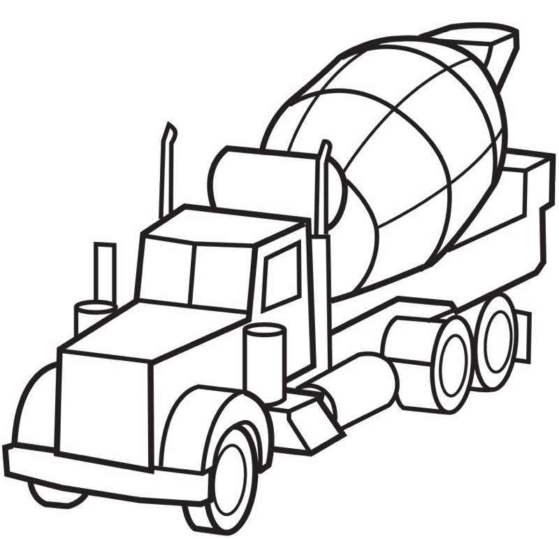 800x771 Printable Cement Truck Coloring Page