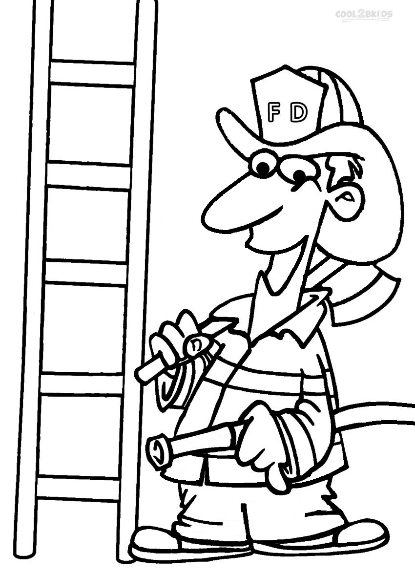 850x1177 Fireman Coloring Pages