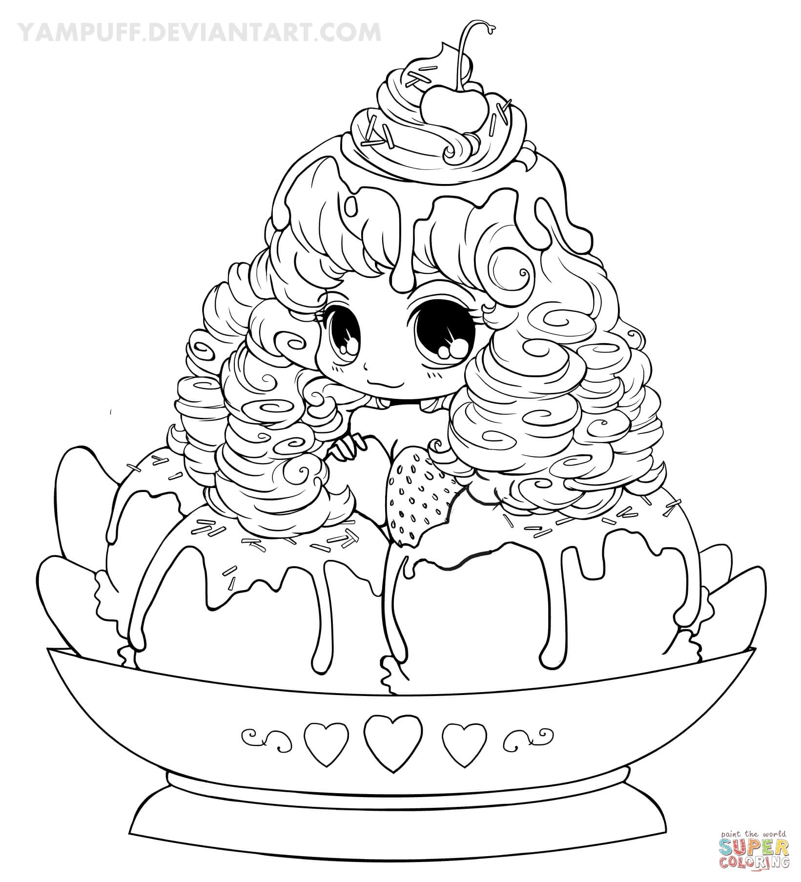 1641x1807 Better Yampuff Food Coloring Pages Chibi Ice Cream Girl Page