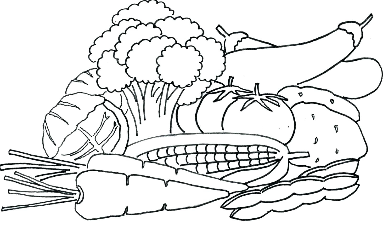 Printable Fruits And Vegetables Coloring Pages at ...