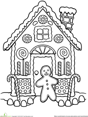 301x398 Gingerbread House Coloring Worksheet