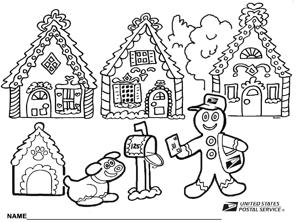 1024x768 gingerbread house coloring page printable and pages