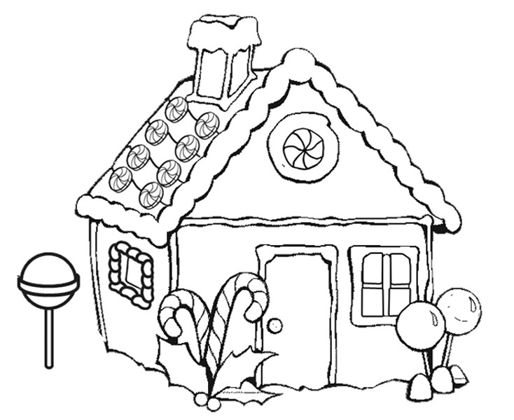 734x600 Christmas Coloring Pages Gingerbread House Printable Gingerbread