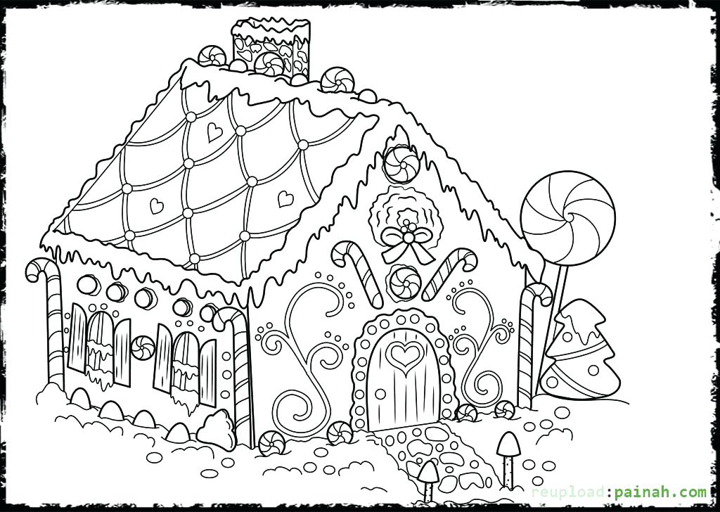 1024x728 House Coloring Pages Printable Gingerbread House Coloring Pages