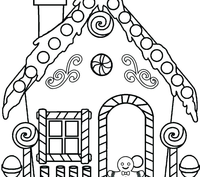 678x600 Gingerbread House Coloring Page