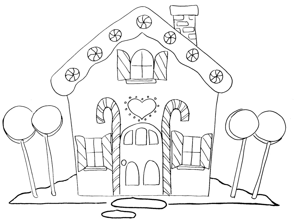 1024x774 Free Printable Christmas Gingerbread House Coloring Pages