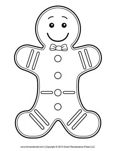 370x480 Gingerbread Man Template, Clipart Coloring Page For Kids