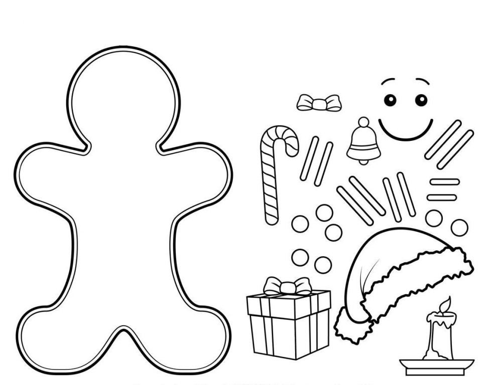 988x768 Printable Gingerbread Man Coloring Page For Kids Classic Style