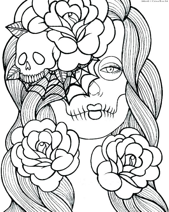 570x713 Free Printable Sugar Skull Coloring Pages Free Printable Graffiti