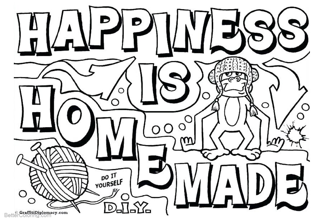1100x740 Graffiti Coloring Pages Happiness Is Homemade
