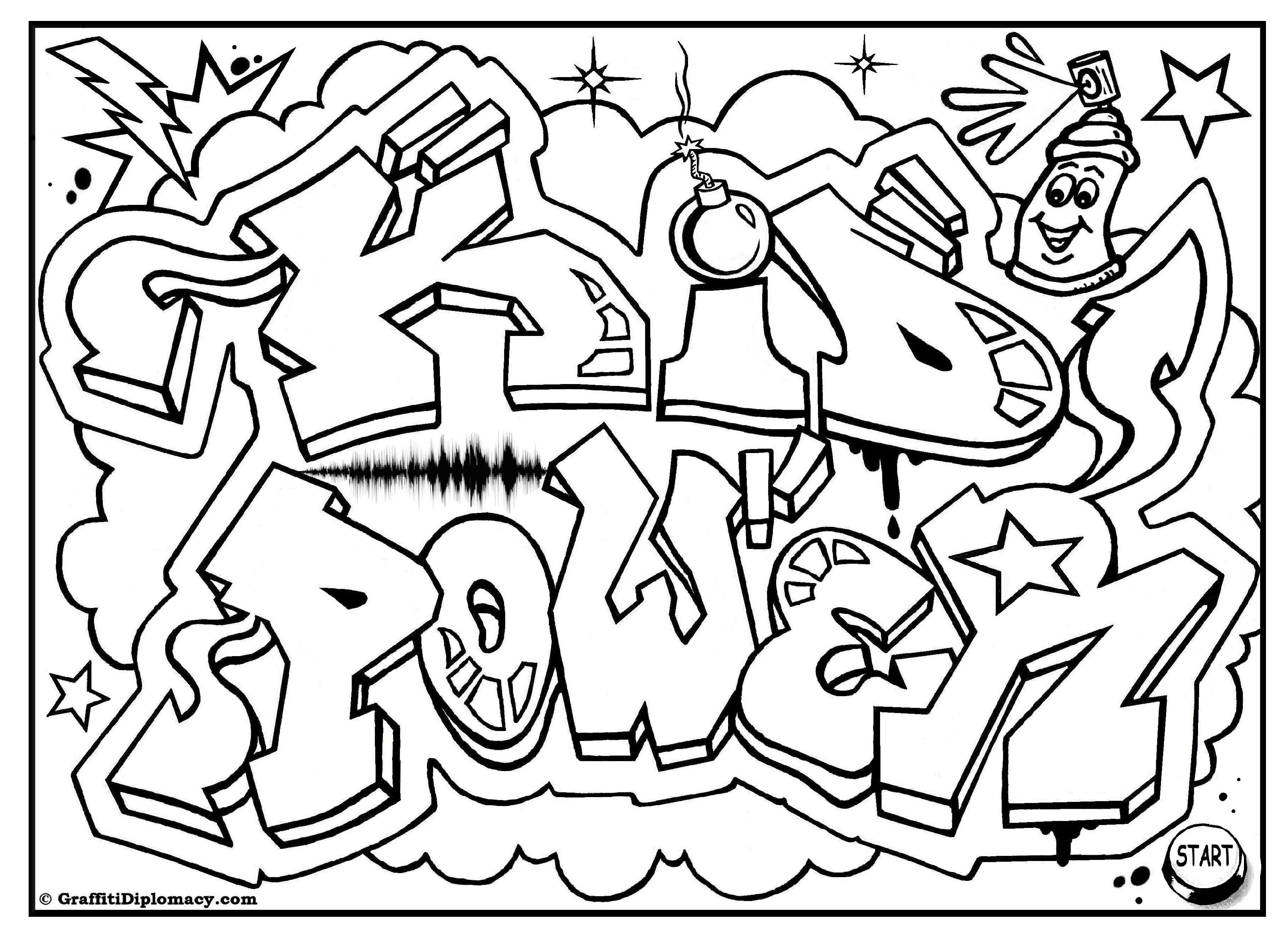 3508x2552 Kid Power Free Graffiti Coloring Page, Free Printable, Colouring