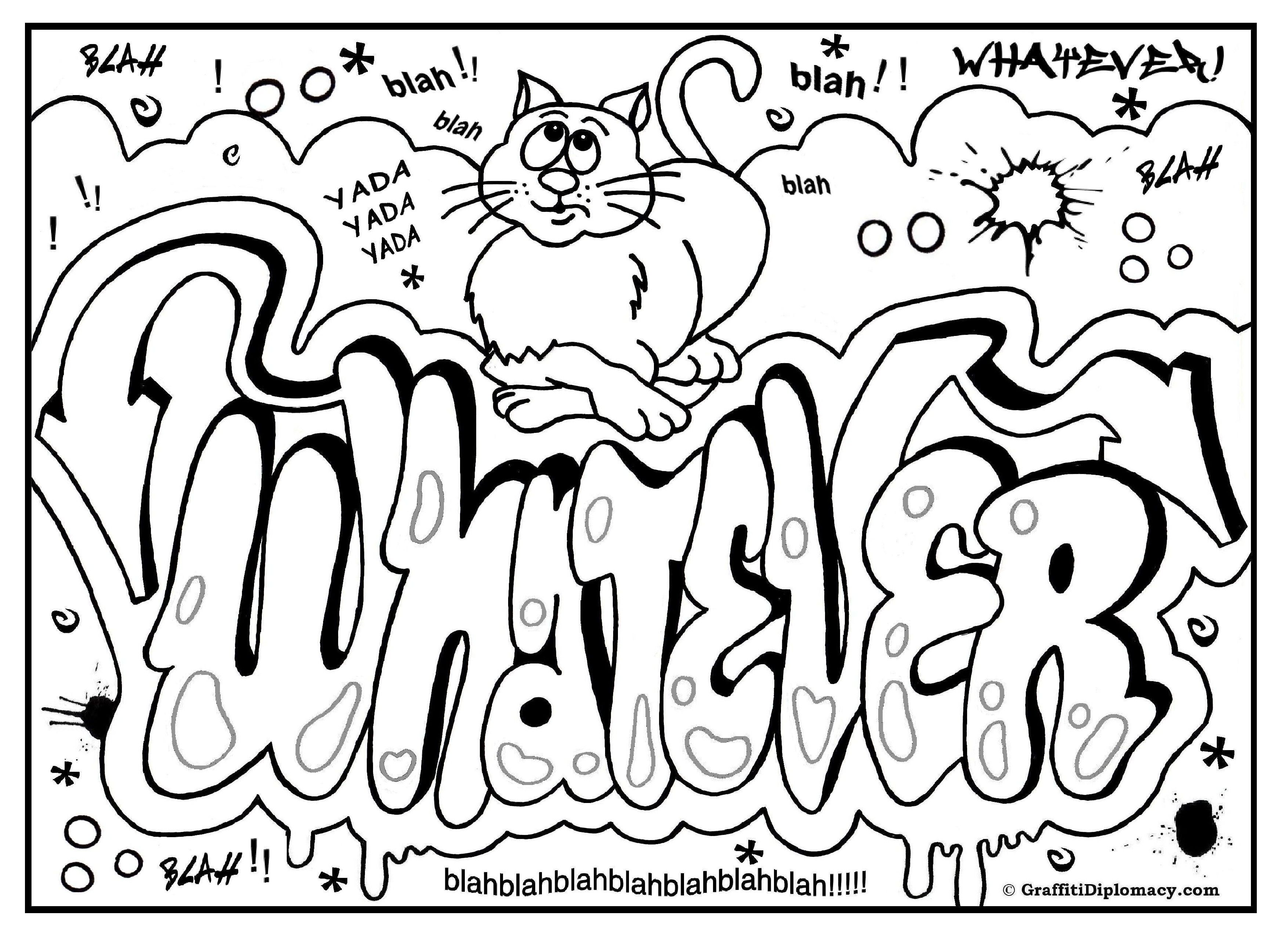 3508x2552 Graffiti Coloring Page, Free Printable Graffiti Room Signs Free