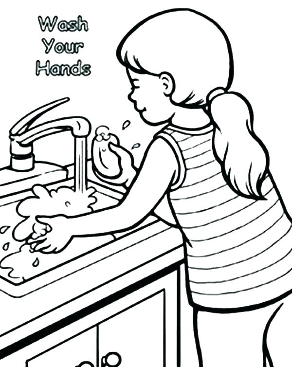 600x754 Hand Washing Coloring Page Coloring Pages Page Image Printable