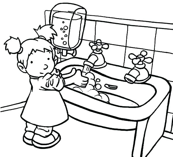 600x544 Hygiene Coloring Pages Hygiene Coloring Pages A Sink Is For Hand