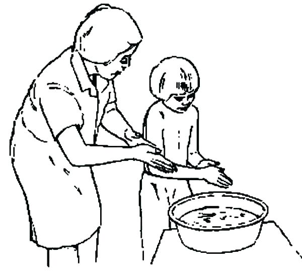 600x539 Washing Hands Coloring Page Hand Washing For Kids Coloring Pages