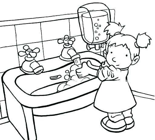 512x464 Hand Washing Coloring Pages