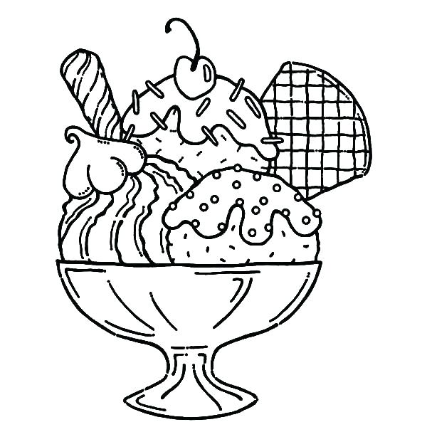 600x600 Ice Cream Coloring Page Ice Cream Sundae Coloring Page Yummy Ice