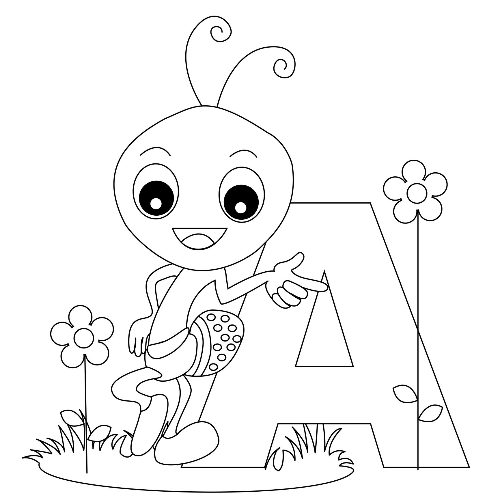 1732x1732 Letter A Coloring Worksheets