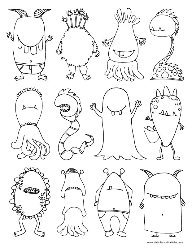 620x802 Halloween Monster Coloring Pages Printable