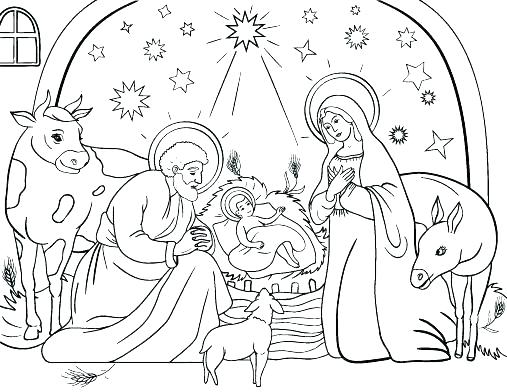 507x392 Nativity Color Sheets Nativity Coloring Pages Best Photos