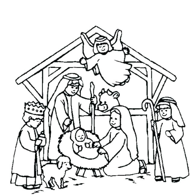 640x647 Outdoor Nativity Scene Coloring Pages Printable For Kids Lds