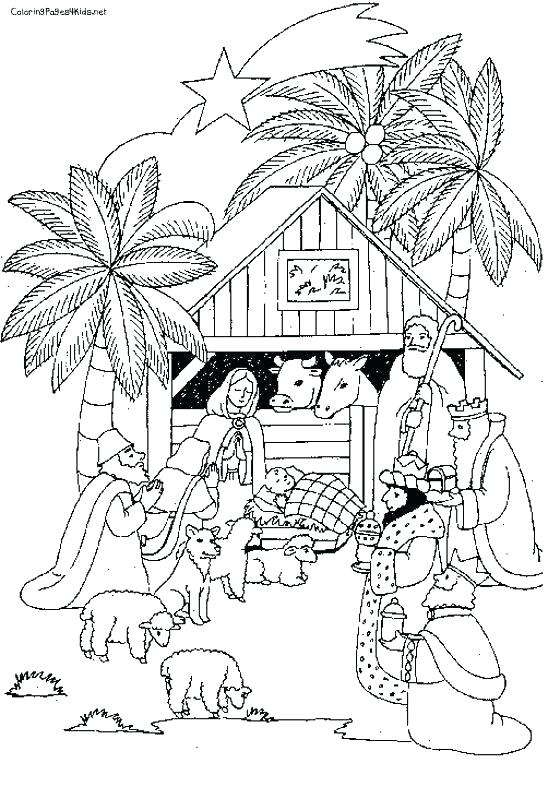 560x787 Christmas Nativity Coloring Pages Printable