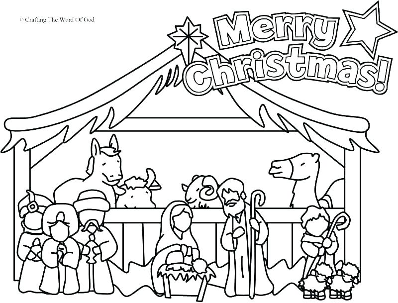 800x609 Nativity Coloring Pages Printable