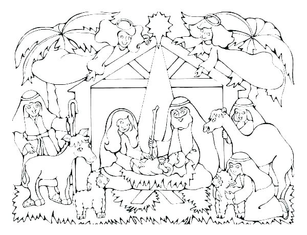 600x460 Nativity Colouring Pages To Print