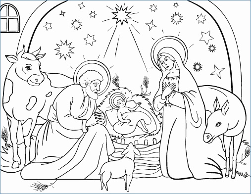 507x392 Free Printable Nativity Scene Coloring Pages Lovely Free Printable