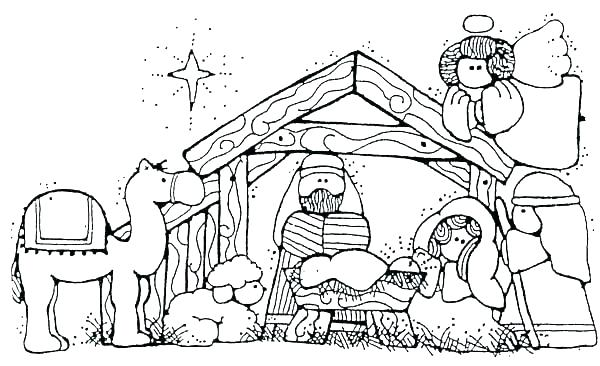 600x366 Nativity Scene Coloring Page Nativity Coloring Pages Printable