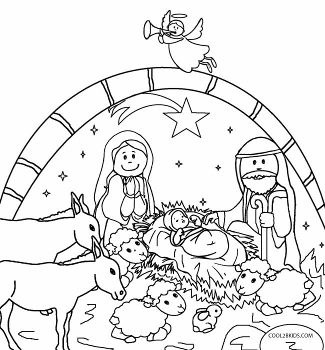650x700 Nativity Scene Coloring Pages Preschoolers Printable Nativity