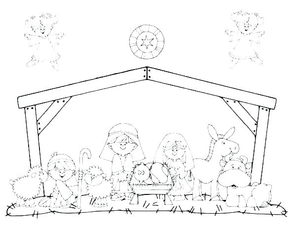 600x464 Coloring Pages Nativity Figures