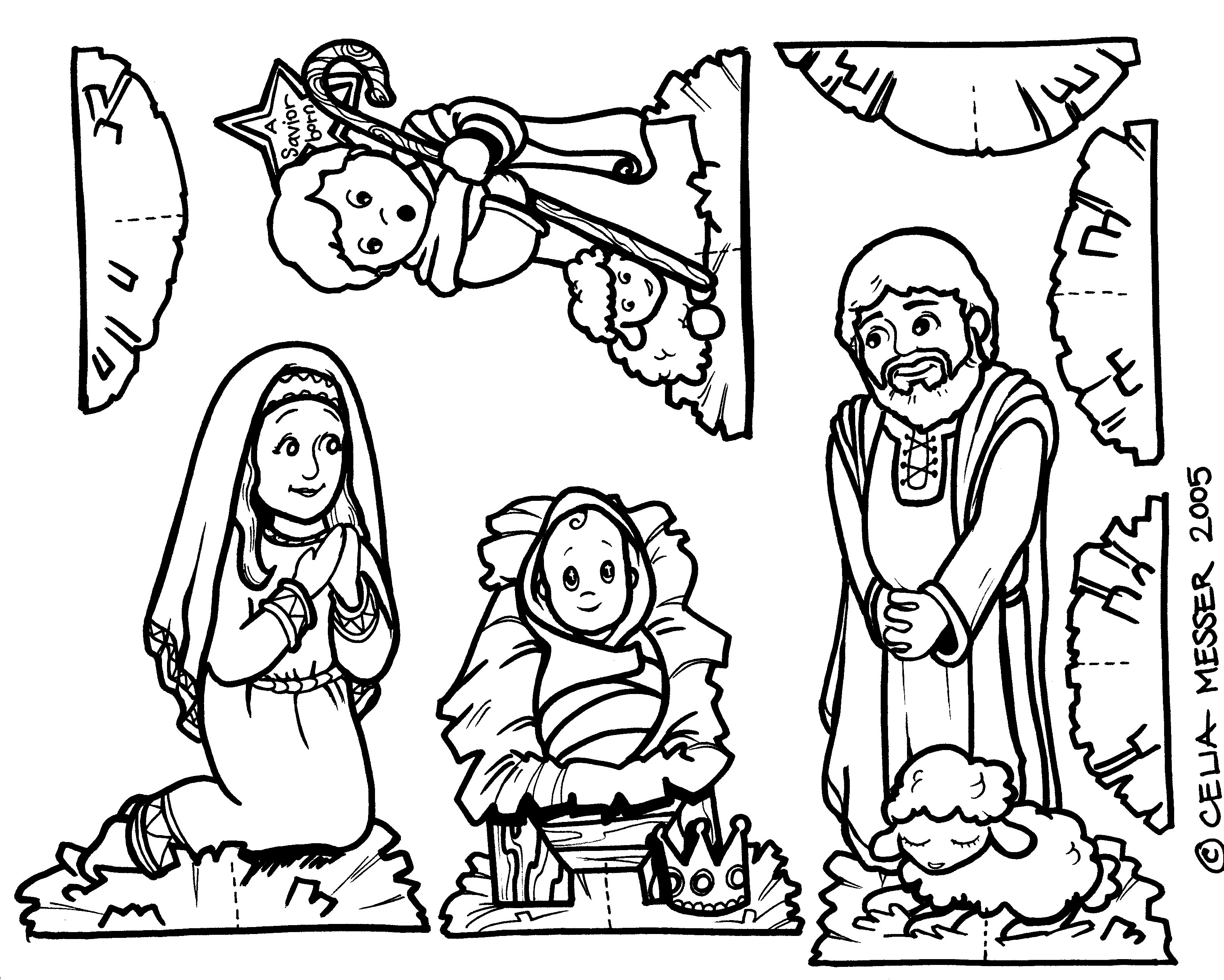 3166x2536 Better Nativity Scene Coloring Pages Printable
