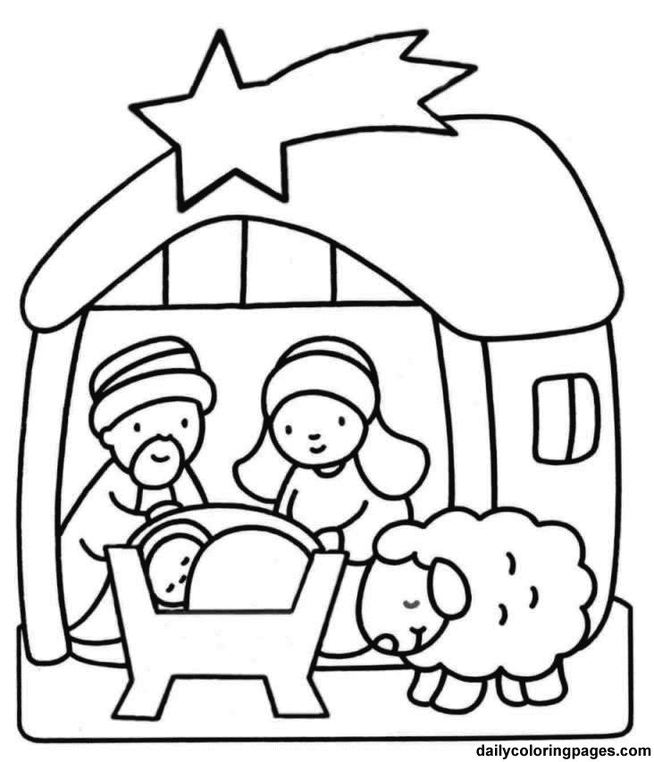732x853 Christmas Coloring Pages Manger Scene