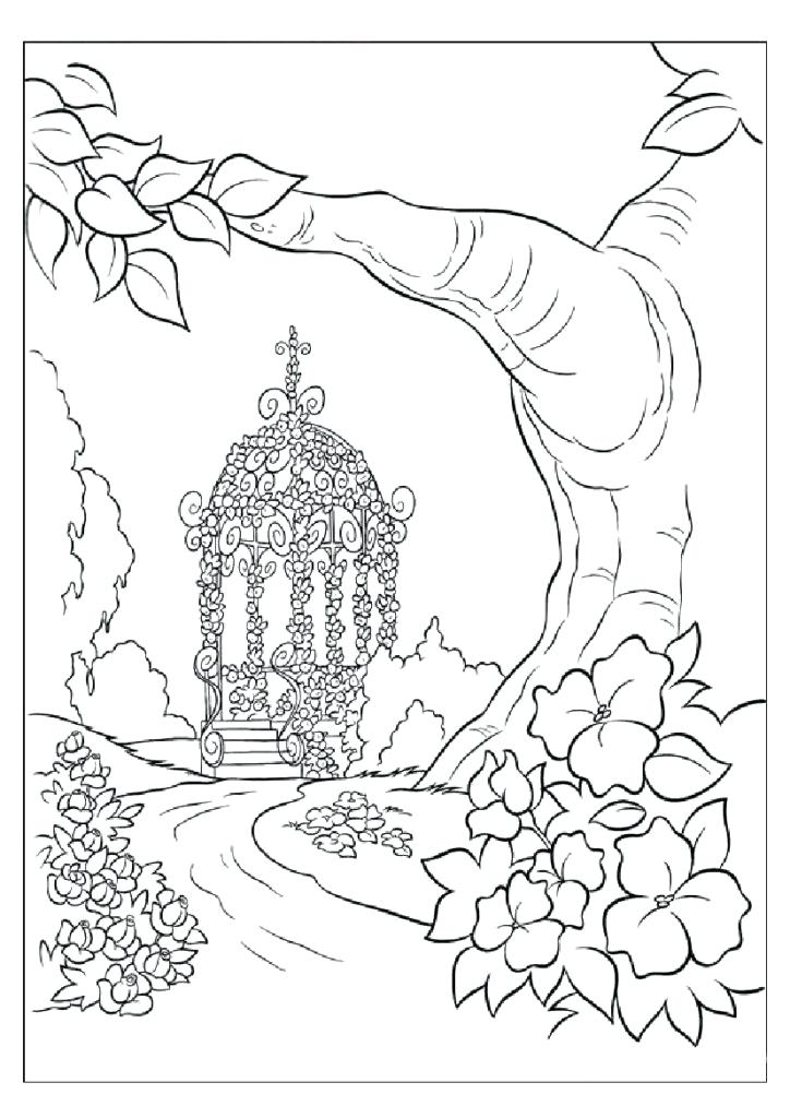 724x1024 Free Landscape Coloring Page For Adults Natural Scenery Pages Draw